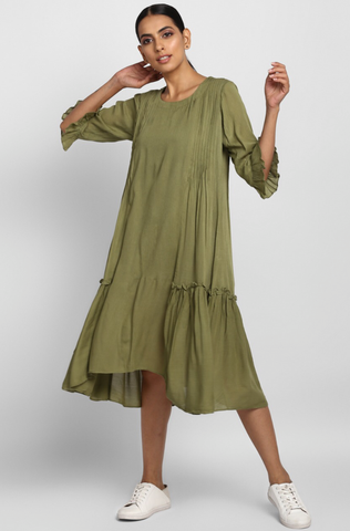 midi dress with ruffled bottom - olive & ruffle gathers