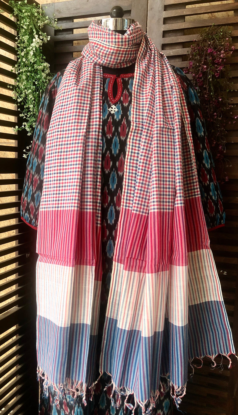 handloom cotton dupatta - porcelain & cherry blue checks