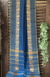 chettinad cotton saree - ocean & gold border