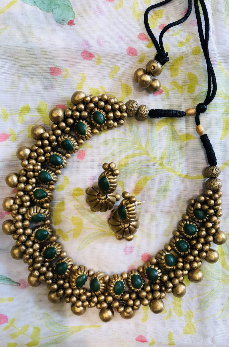 jewelry - terracotta set - temple gold & green drops with jhumka