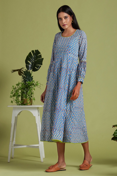 midi dress - mystic blue & tuberose