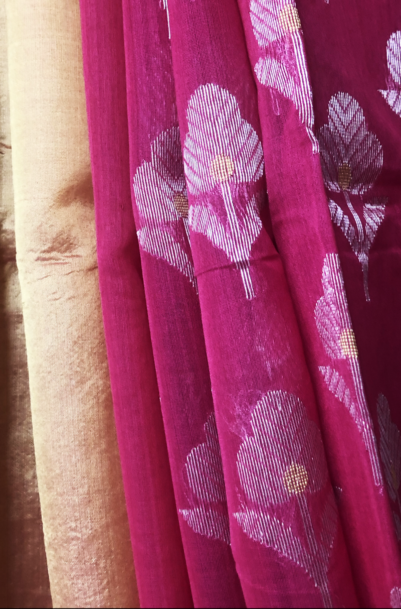 handwoven chanderi saree - fuchsia & silver phool butti