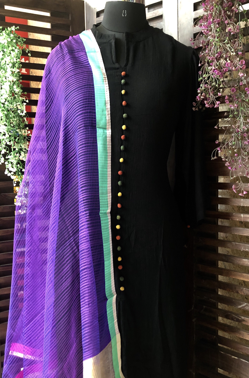 handwoven chanderi dupatta - purple & gold zari