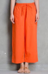 ELASTICATED CAMBRIC PANTS -  ORANGE