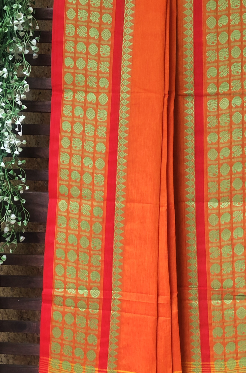 chettinad cotton saree - orange & paisley border