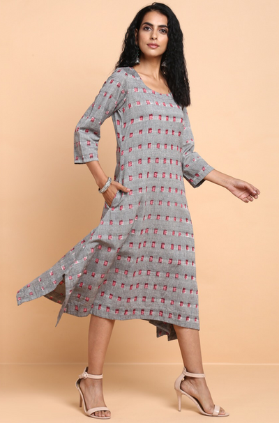 asymmetrical kurta - dove grey & madder squares