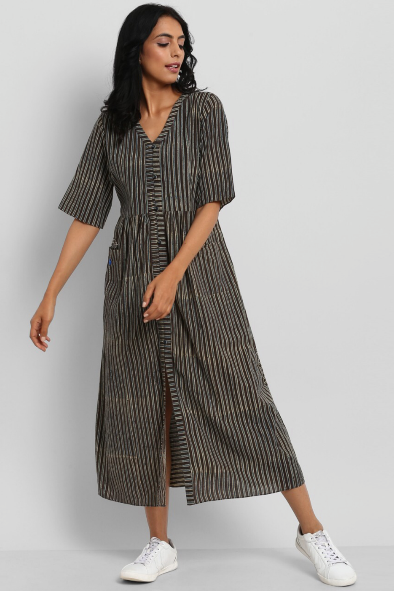 button down dress with patch pocket - coffee & stripes