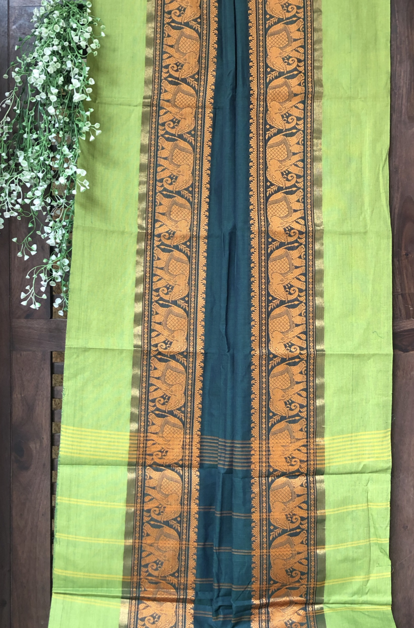 chettinad cotton saree - rama green & procession