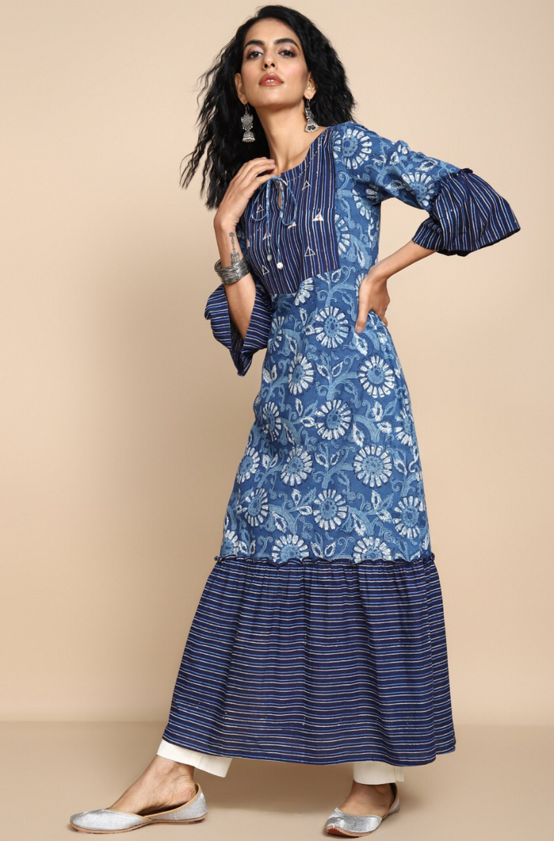 Indigo and white hand block printed long kurta with yoke and ruffle bottom