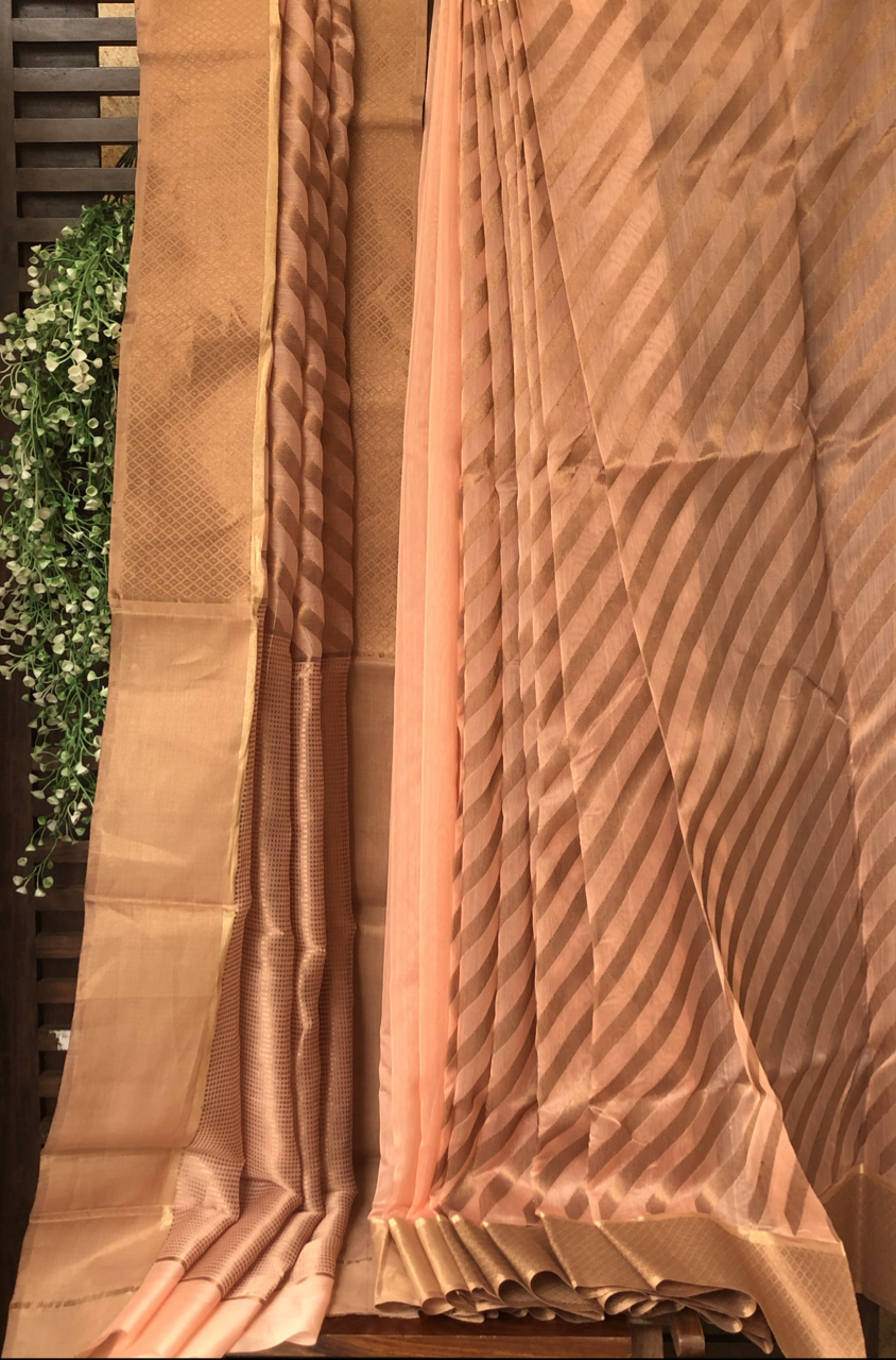 handwoven chanderi saree - salmon gold & stripes
