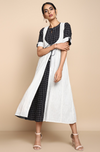 Mangalgiri White with black lines sleeveless Jacket with Black / White square checks inner with short sleeves