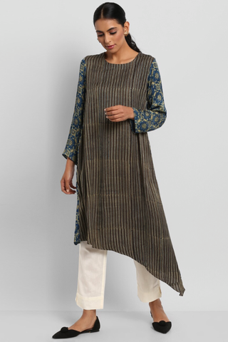 modal asymmetrical dress - coffee stripes & gold dust