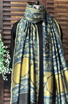 abstract ajrakh dupatta - vintage indigo & gold motifs