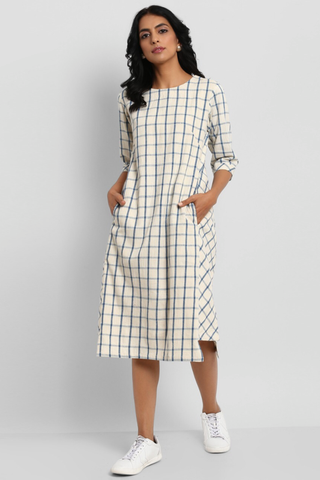 side bias pocket dress - indigo & white checkers