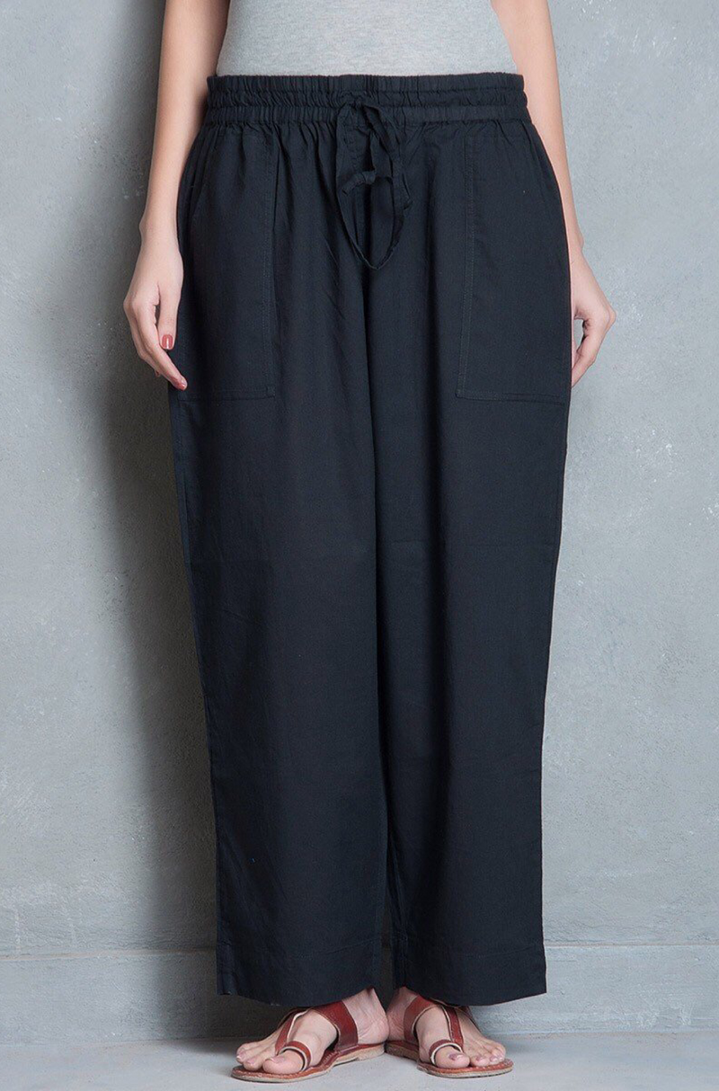 ELASTICATED CAMBRIC PANTS - BLACK
