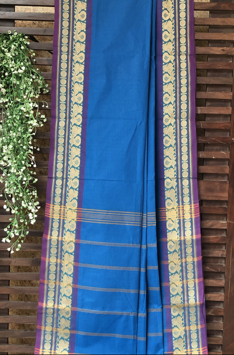 chettinad cotton saree - cobalt & gold peacocks