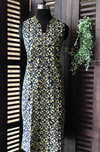 sleeveless collar dress - indigo yellow & flowers