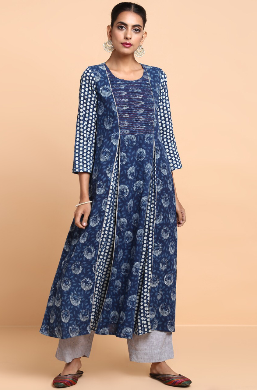 box pleat anarkali with pintuck yoke - indigo polka & dandelions