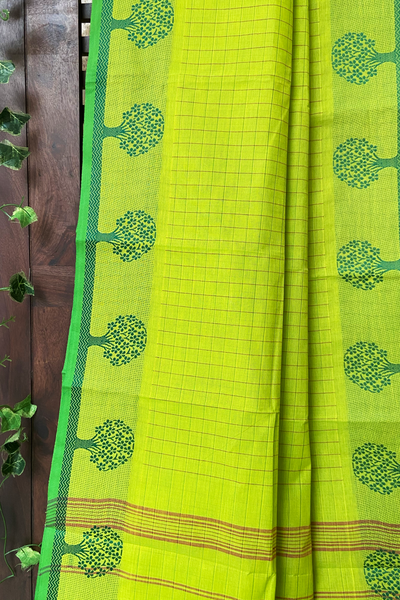 chettinad cotton saree - lime green & chequered
