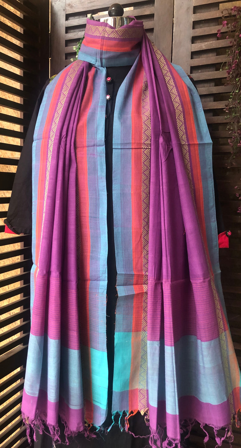 handloom cotton dupatta - orchid & dhoop chaav