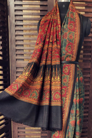 KANJEEVARAM AJRAKH SAREE - FOSSIL GREEN & POND OF LOTUSES