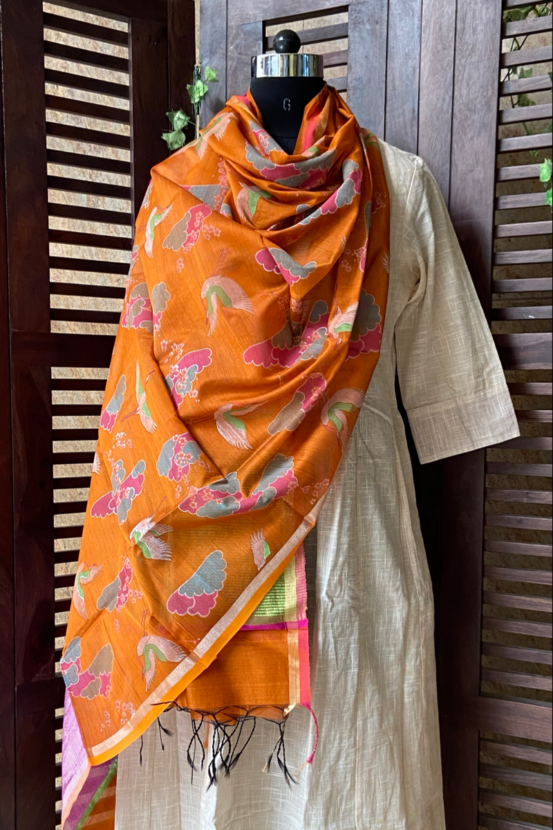 handwoven chanderi dupatta - rust orange & magical skies