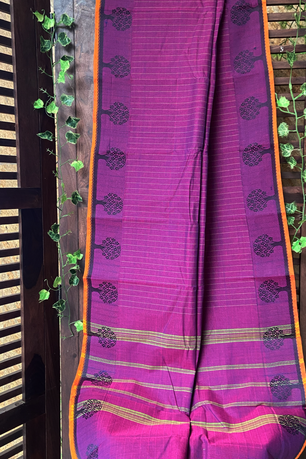 chettinad cotton saree - mulberry & gold lines