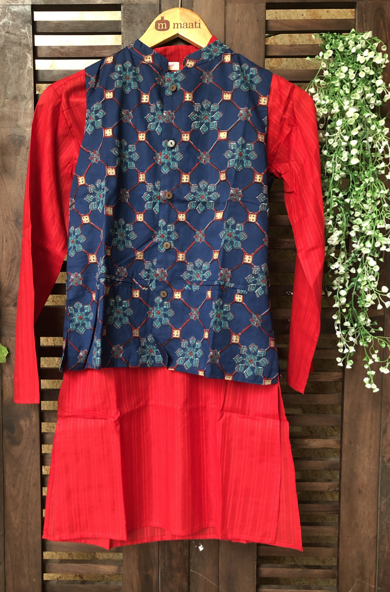 kidswear - indigo floral jacket with red kurta & pajama