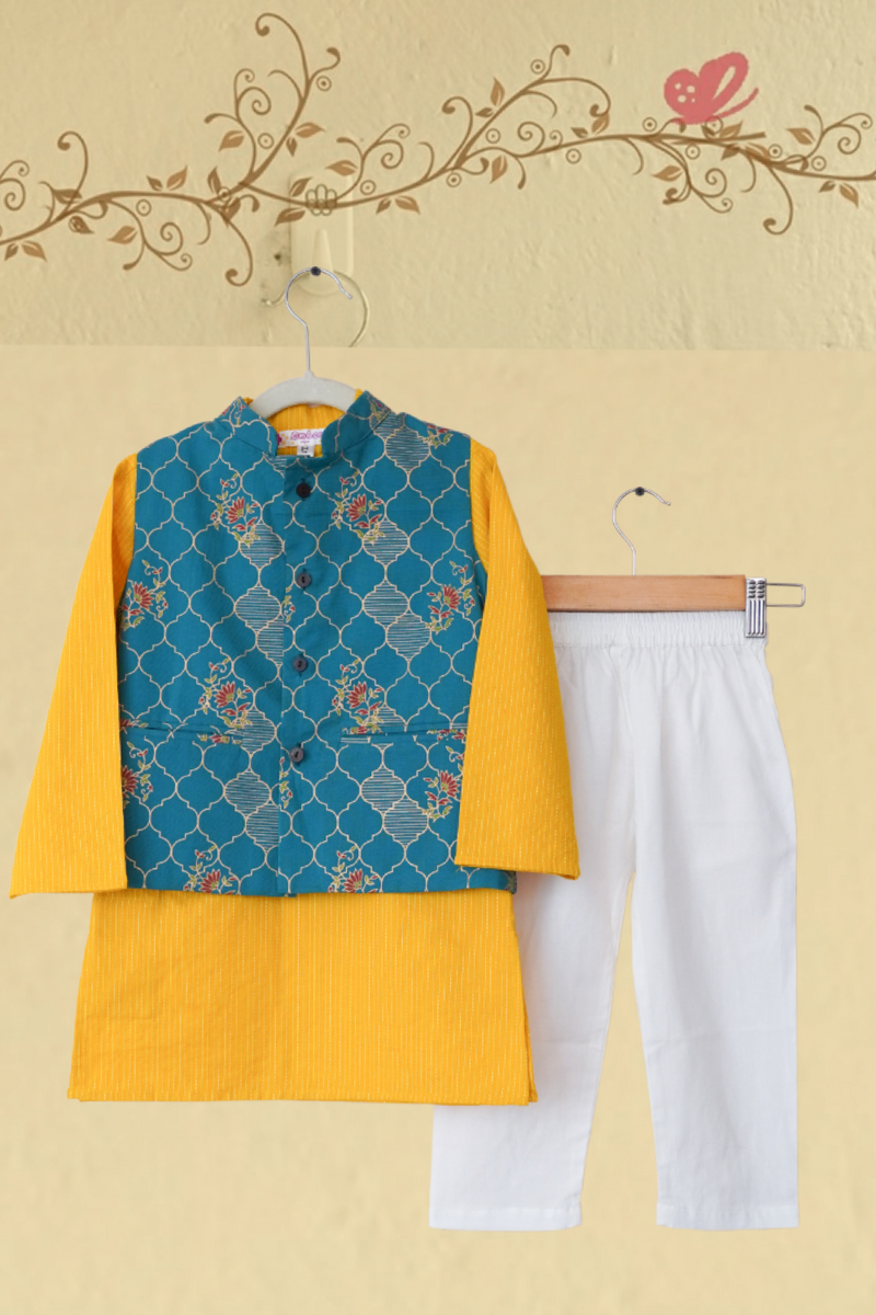 kidswear - yellow kurta with blue gold jacket & pajama
