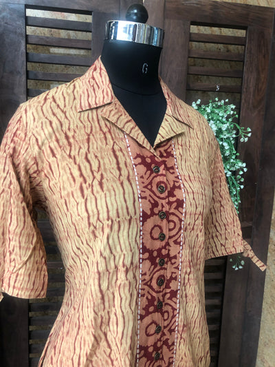 shirt dress - rust & shibori