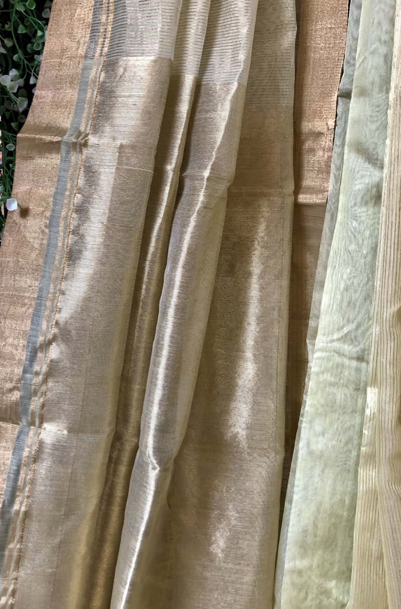 handwoven chanderi saree - olive gold & play of stripes