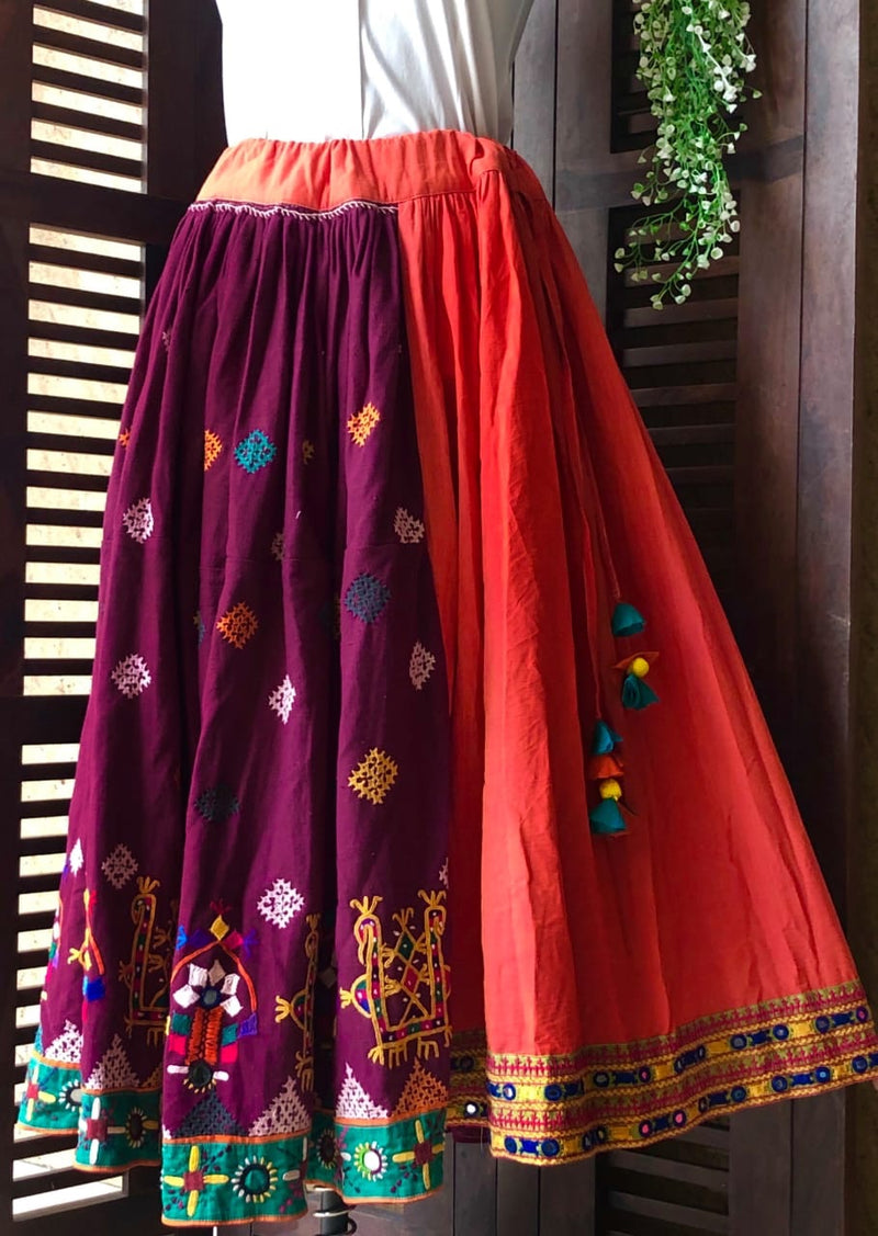 kutchi vintage skirt - peach & border