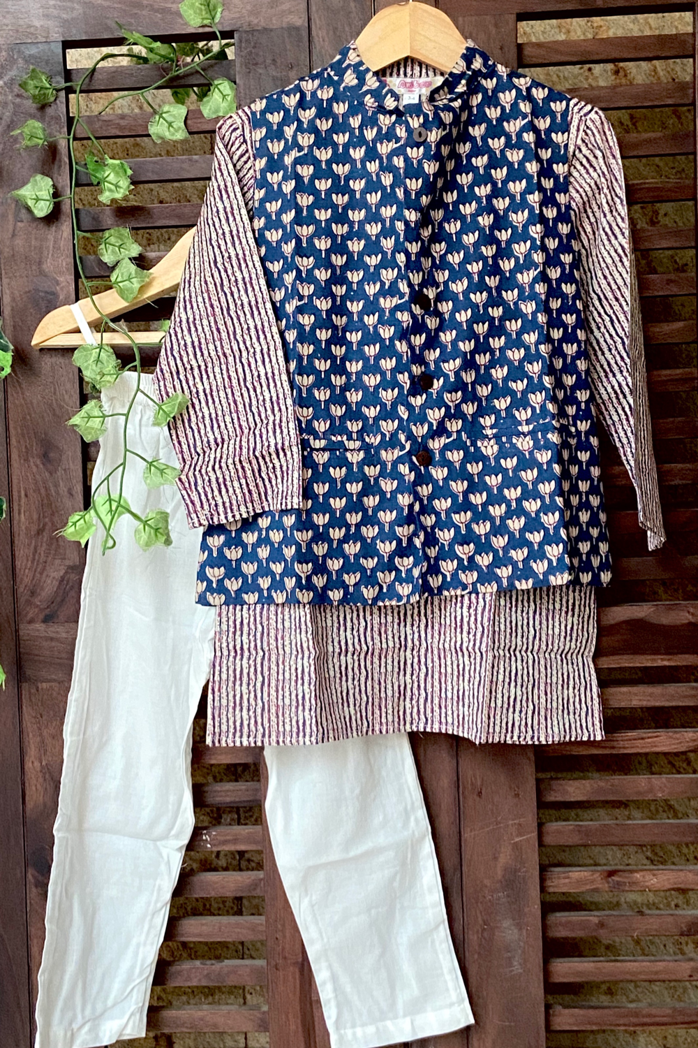 kidswear - indigo jacket with stripes kurta & pajama