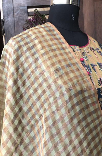 handwoven chanderi dupatta  - gold rush & checkers