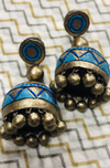 jewelry - terracotta - turquoise & triangle jhumkas