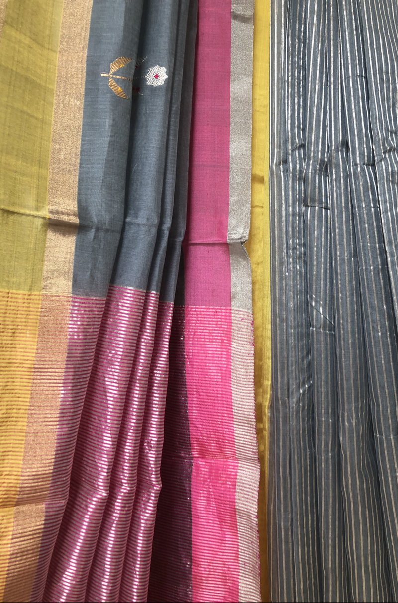 handwoven chanderi saree - grey skies & dash of pink