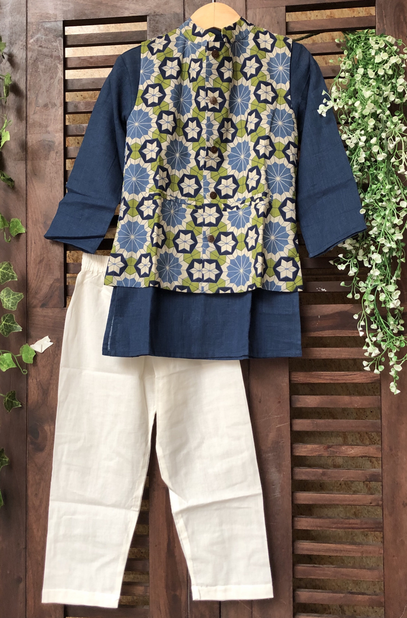 kidswear - blue green floral jacket with blue kurta & pajama