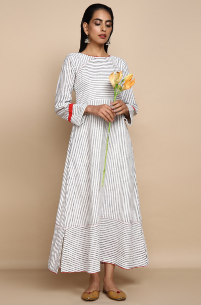 ankle length dress in white striped mangalgiri with long sleeves and neck detail
