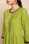 Long in Leaf Green Cotton and blue dot motifs Kurta with Pintuck yoke and pink hand embroidery