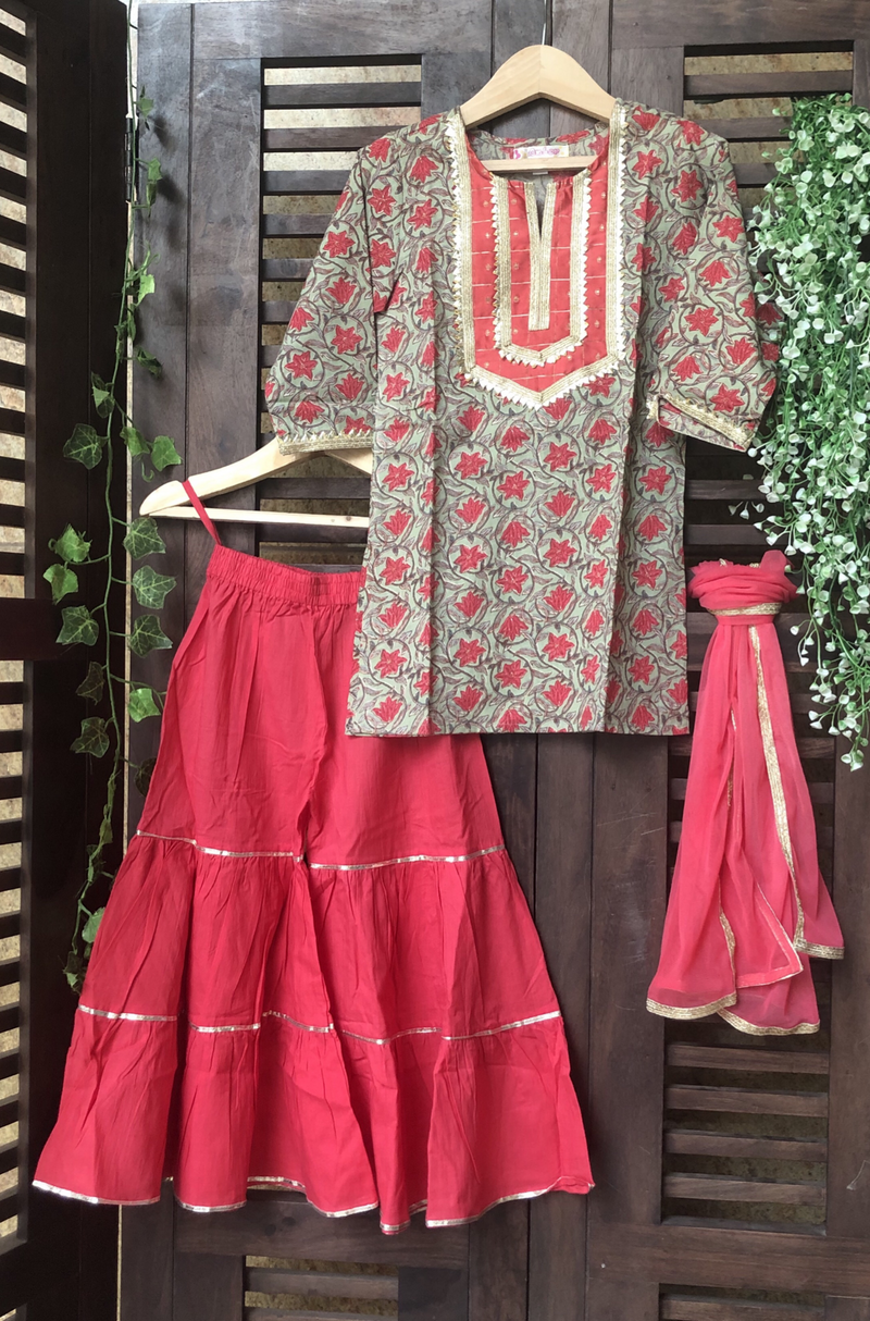 kidswear - green floral kurti with double layered red sharara & dupatta