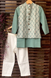 kidswear - green buti jacket with green kurta & pajama