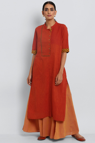 stand collar kurta - sunset orange & rust lines
