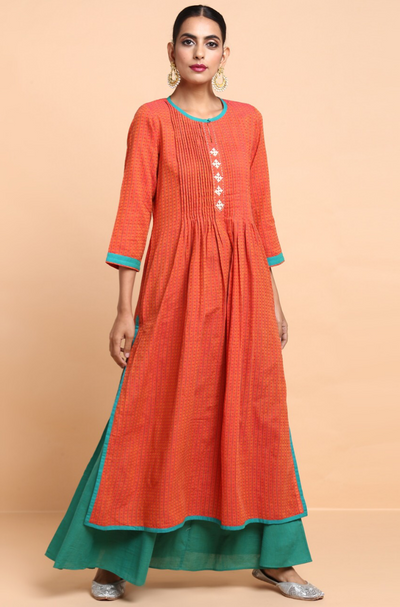 pintucked long kurta - sunset orange & dainty dots