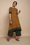 Mustard Ajrakh tunic kurta with side potli buttons and culottes in green red ajrakh lines