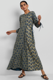 leher anarkali - indigo yellow & phool buttis