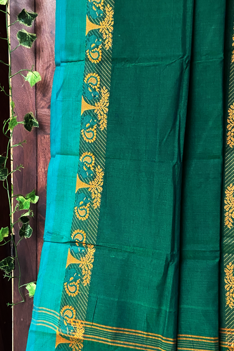 chettinad cotton saree - juniper green & gold trees