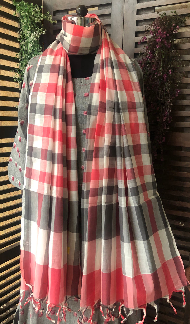 handloom cotton dupatta - grey skies & flamingo
