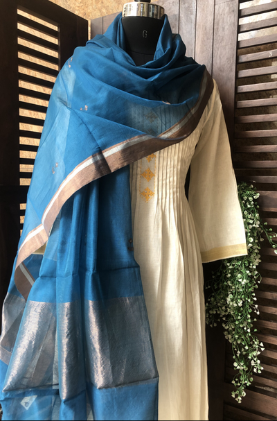 handwoven chanderi dupatta  - peacock blue & bronze gold