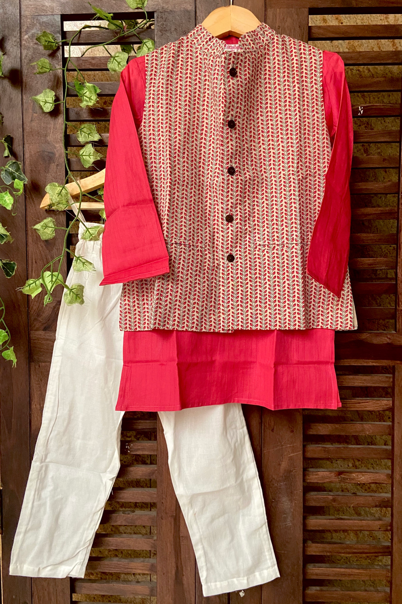 kidswear - grey leaf jacket with pink kurta & pajama