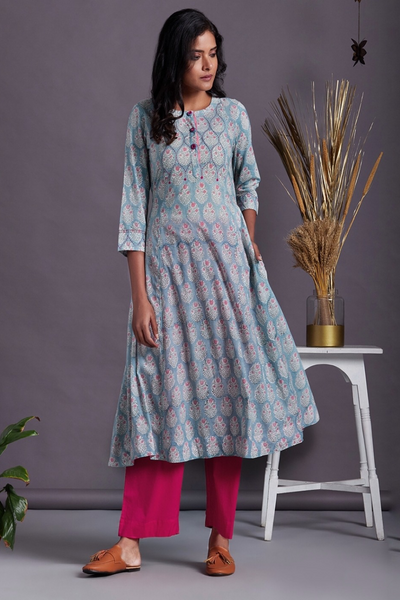 panel anarkali with pockets - summer medley & ruby drops